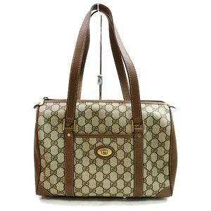 Auth Gucci Gg Satchel Brown Boston Hand #3354G11